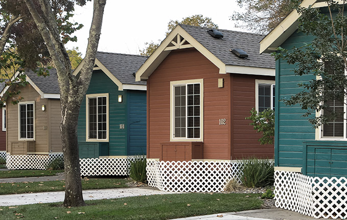 Colorful small wood houses in a row