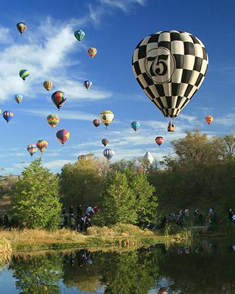 Hot air balloons at The Great Reno Balloon Race in Reno, Nevada